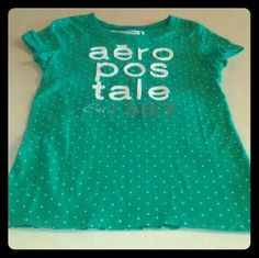 Green w/ white polka dot Aeropastale tee size L/G Aeropastale tee green with white polka dots size large. Measurements in photos Aeropostale Tops Tees - Short Sleeve