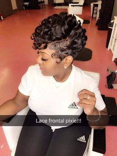 Lace Front Pixie 💁‍♀️ This Hair Style Is The Shit, Look Like Something Trina Would Wear Hot Shit Black Girls Hairstyles, African Hairstyles, Braided Hairstyles, Short Quick Weave Hairstyles, 27 Piece Hairstyles, Choppy Hairstyles, Vintage Hairstyles, Love Hair, Gorgeous Hair