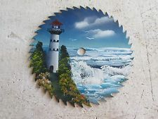 "Vintage Hand Painted Saw Blade 10"" Nice Lighthouse Ocean Scene Lot 15-47-4"