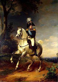 Alexandre Ier (1812) par Franz Hrüger: - Alexandre I° de Russie est battu à Friedland, un instant fasciné par le génie politique et militaire de Napoléon, il signe les accords de Tiltsit (juillet 1807), prévoyant un partage de l'Orient entre les 2 empereurs. Cette alliance est fragile: à l'entrevue d'Erfurt (1808), le tsar refuse de faire pression sur l'Autriche. Les rapports des 2 empereurs sont envenimés par le Blocus continental et l'annexion de l'Oldenburg.