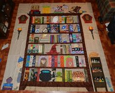 pattern for bookcase quilt pattern free - Yahoo Image Search Results Baby Harry Potter, Harry Potter Thema, Harry Potter Quilt, Halloween Quilts, Paper Piecing Patterns, Quilt Patterns Free, Nancy Zieman, Cute Quilts, Mini Quilts