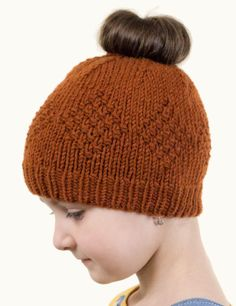 Free Knitting Pattern for Holly Messy Bun Hat - Hat with moss stitch diamonds. DK yarn. Designed by Olivia Craftox