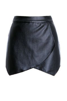 Black Asymmetric Layered Front Skort | Skort and Black