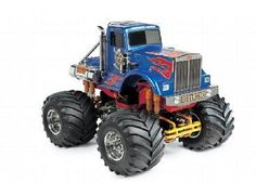 The Tamiya R/C Bullhead Monster Truck Model Kit is a 1/10 scale radio controlled truck on the tamiya monster truck range. The Bull Head monster truck features a body that was inspired by tractor trucks. The front grille, air cleaners, exhaust pipes, roll bar, and fuel tanks are recreated with metal-plated parts.