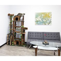 Cat Tree Furniture Bed Sleeping Playing Faux Fur Sisal Rope Pessboard Forest