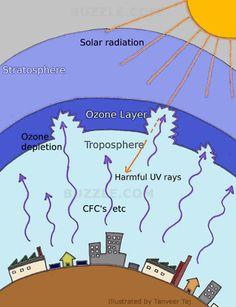 Ozone Layer Depletion Diagram Kids