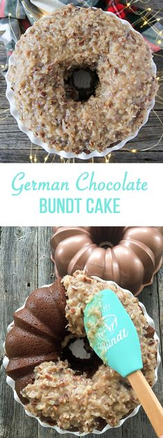 Make this German Chocolate Bundt Cake! With a gooey coconut, pecan and caramel frosting that complements this subtle chocolate flavoured cake. Chocolate Bundt Cake, Chocolate Flavors, Chocolate Recipes, Chocolate Tarts, Chocolate Food, Nutella Cake, Bundy Cake, Delicious Desserts, Dessert Recipes