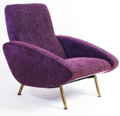 Marco Zanuso; Brass Legged Lounge Chair for Arflex, c1960.