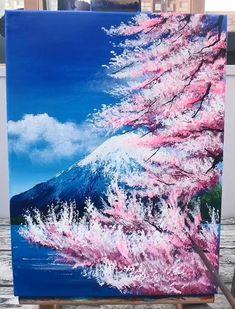 Canvas Painting Tutorials, Diy Canvas Art, Landscape Art, Landscape Paintings, Art Painting Gallery, Art Drawings Sketches Simple, Sky Art, Acrylic Art, Cherry Blossom Painting