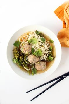 Daikon Noodles and Broccolini with Asian Pork Meatballs by @inspiralized (to make #paleo , simply sub coconut aminos for the soy sauce!)