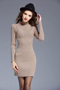 170b111beef Fashion Sweater Dresses For Women Autumn Winter Warm Long Sleeve High Neck  Primer Dress Soft Cable