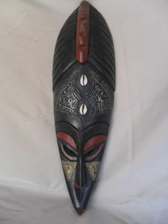 Wooden African Mask Hand Carved Ghana