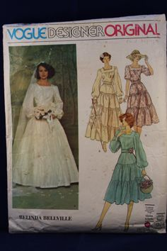 Sewing Pattern Vogue Designer Original for a Woman's Wedding Dress, Petticoat and Veil in Size 14 by TheVintageSewingB on Etsy