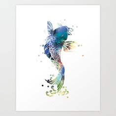 Collect your choice of gallery quality Giclée, or fine art prints custom trimmed by hand in a variety of sizes with a white border for framing. #koifish #artprint #wallart