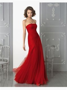 Red Column Strapless Tulle 2014 Prom Dresses APR020134