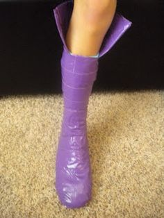 tutorial --how to make costume boots with duct tape, sock, shoe, and eyelets