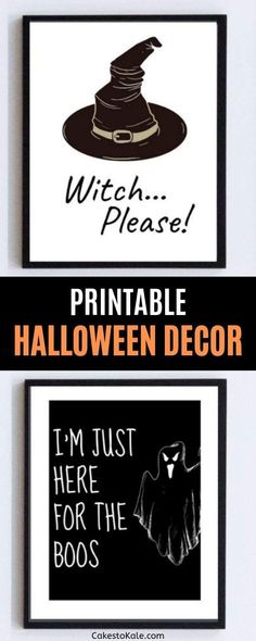 As an adult my favorite part about Halloween is the decorations! I'm always looking for ways to decorate on a budget. I have made the cutest Printable Halloween Decor and my house will be so cute this season. I want to share the cuteness with you too! Diy Halloween Buckets, Printable Halloween Decorations, Halloween Wall Decor, Diy Halloween Costumes, Easy Halloween, Halloween Treats, Halloween Makeup, Halloween Printable, Halloween Shirt