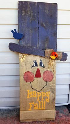 Reversible Fall Winter Sign, 2 in 1 Sign Snowman Scarecrow porch decor, Happy…