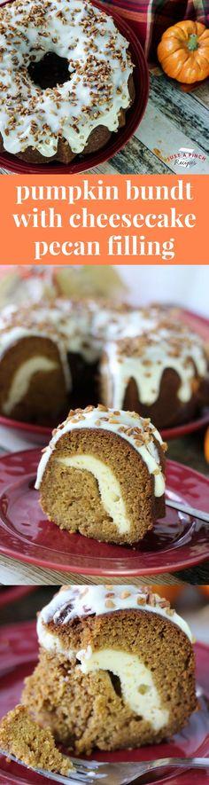 Pumpkin Bundt with Cheesecake Pecan Filling is a delicious fall dessert! #dessertrecipes #falldessert #pumpkinrecipes