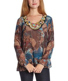 This Blue Beaded Scoop Neck Top by Simply Irresistible is perfect! #zulilyfinds