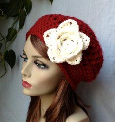 Red Womens Hat Crochet Beret Cream Rose