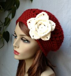 Red Womens Hat Crochet Beret Cream Rose