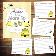 Baby Shower Games, What Will It BEE Baby Shower Games, Advice for the Mom to BEE, Bumblebee baby shower decor, Advice Cards for Baby Shower by TwistedSisterShop on Etsy