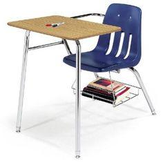 Chair Desk with Bookrack Navy Shell/Medium Oak Top/Chrome Frame
