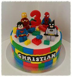 Lego Superhero 3rd Birthday  cake. Batman, Superman, Spiderman, Iron Man. www.facebook.com/icedmagiccreations