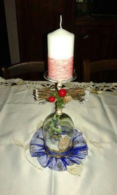 Bicchiere natalizio decorato a presepe mia produzione handmade