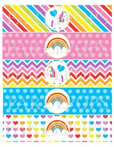 DIY Rainbow Party Printable,  Water Bottle, Milk Bottle Labels, Napkin Rings, Rainbow Party Decoration,  Unicorn, INSTANT DOWNLOAD