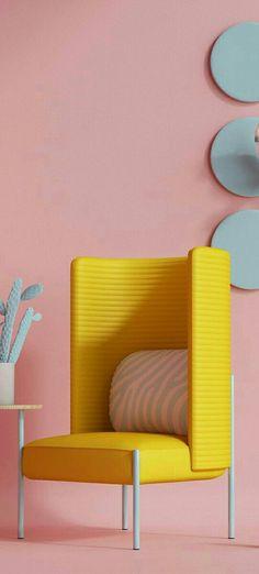 Yellow Home Decor, Living Room Designs, Chair, Interior, Blue, Furniture, Design Interiors, Home Furniture, Interiors