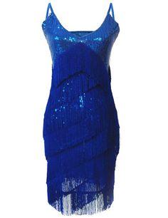 PrettyGuide Damen V Neck Deco Gatsby 1920er Pailletten Fringe Sway Flapper-Kleid Blau