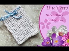Uncinetto bomboniera: Sacchetto a filet-How to do filet bag - YouTube Crochet Dolls, Crochet Baby, Tutorial, Confetti, Make It Yourself, Facebook, Youtube, Totes, Crochet For Baby