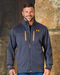 """Under Armour Men's Gray Storm Coldgear Infrared Softershell Jacket with MagZip, UA Storm 2  gear, ColdGear, DWR, Wind proof, """"gifts for cowboys"""" """"gifts for men"""" drysdales.com western menswear for cowboys warm comfortable outerwear fall winter cold weather outdoors snow rain sleet wind rancher ranchwear rugged coat jacket vest pullover overcoat duster hoodie"""