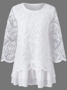 Floral lace layered longline blouse The renowned fashion retailer offers a . - Floral lace layered longline blouse The renowned fashion retailer offers a large selection of women - Beautiful Outfits, Cool Outfits, Fashion Outfits, Fashion Clothes, Fashion Sale, Womens Fashion, Fashion Fashion, White Lace Blouse, Lace Tops