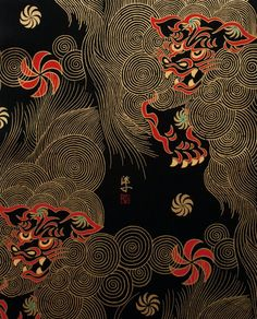 Chinese lion 'Golden Shishi' fabric (black/gold), from Alexander Henry, Indochine Collection