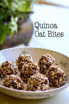 Grain Crazy: Quinoa and Oats Bites (Protein). Great way to eat quinoa in a yummy snack. Use maple syrup in place of honey to make this vegan Healthy Protein Snacks, Protein Bites, Vegan Snacks, Healthy Baking, Yummy Snacks, Healthy Desserts, Yummy Food, Eat Healthy, Healthy Bars