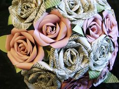Vintage Bible page paper roses and pastel pink paper roses