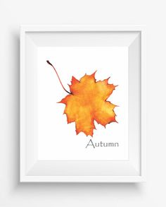Autumn,Autumn Leaf ,watercolor art,Home decor,office decor,instant download,jpeg,300 dpi