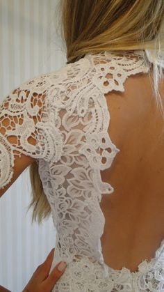 Lace White backless dress  Lethicia Bronstein  Love the detail