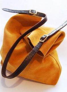 Yellow suede leather tote,  Bag, suede leather London handmade soft, Casual