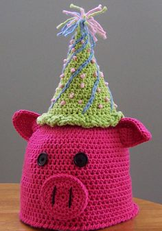 Crochet pattern info here: http://www.ravelry.com/patterns/library/oink-oink-pig-hat-with-or-without-earflaps Darleen Hopkins' This little piggy went to a party...