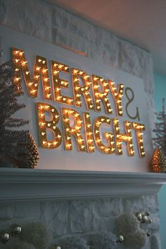 Christmas Light Up Marquee DIY - A Beautiful Mess Merry and bright merry christmas Diy Christmas Lights, Decorating With Christmas Lights, Noel Christmas, Merry Little Christmas, Outdoor Christmas, Winter Christmas, All Things Christmas, Christmas Decorations, Fireplace Decorations