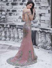 Luxo colorido strass frisado sereia fora do ombro abrir voltar vestidos longo Formal vestidos 2016(China (Mainland))