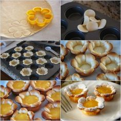 Flower Shaped Lemon Curd Tarts - looks simple enough *this isn't the recipe though, just the flower idea* Mini Lemon Tarts, Lemon Curd Tart, Kreative Desserts, Good Food, Yummy Food, Creative Food, Sweet Recipes, Sweet Tooth, Bakery