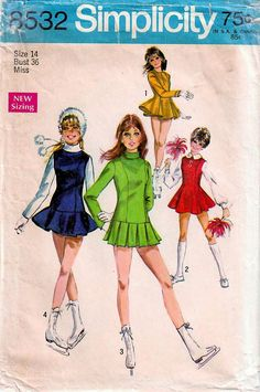 1960s Simplicity 8532 Vintage Sewing Pattern Misses Skating