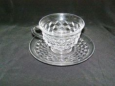 Vintage Fostoria American Clear Cup Saucer 9 Sets Available | eBay