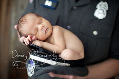 Newborn, proud dad, police officer, tiny baby, nude, studio photography, natural light,  © Dimery Photography 2013