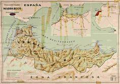 Mapa del Protectorado Español en Marruecos (1924)